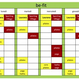 Planning olistico Sporting | be fit dal 25 maggio