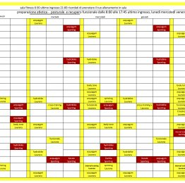Planning Sala fitness e Corsi Be fit / Sporting Village dal 25 maggio